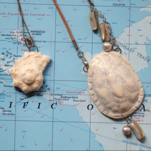 Turtle Shell Necklace – porcelain carapace – pale blue